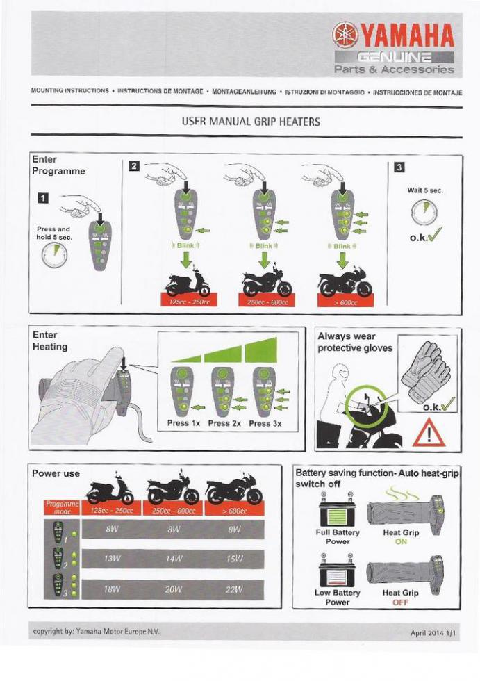 D New Oem Heated Grips Yamaha Heated Grips on Ignition Wiring Diagram