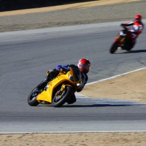 My son pulling away on his Daytona 675, Laguna Seca Turn 5, 11/3/2014