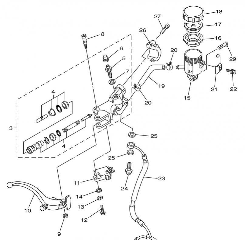 harley rear brake caliper diagram